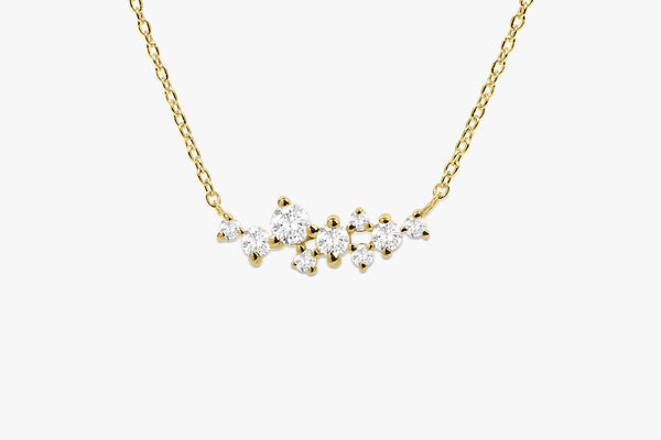 Unique diamond cluster layering memorial day necklace in 14k gold