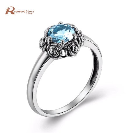 October Birthstone Rings - rose sky blue crystal real 925 sterling silver wedding October birthstone ring