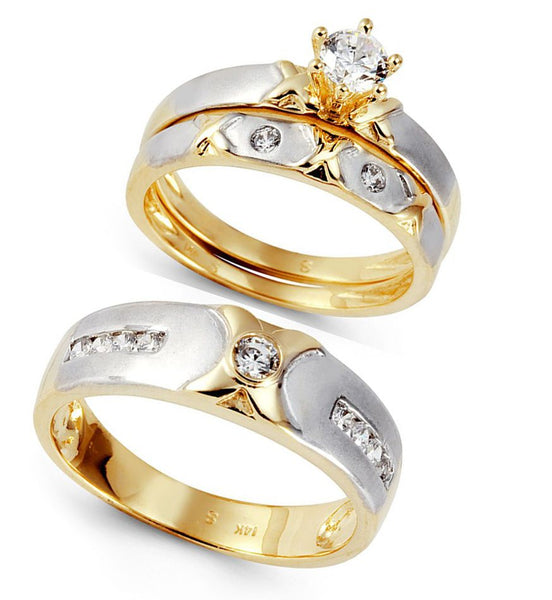 beautiful gold and silver plated wedding ring set for fashion lovers - wedding ring sets, wedding ring sets for her, womens wedding ring sets