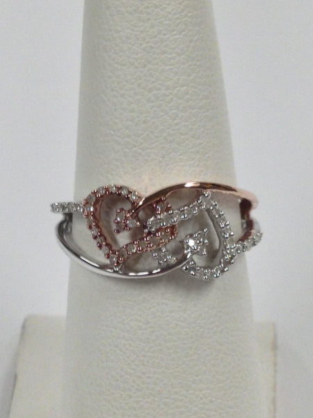 Heart Shaped Diamond Ring - 925 sterling silver natural diamond heart ring