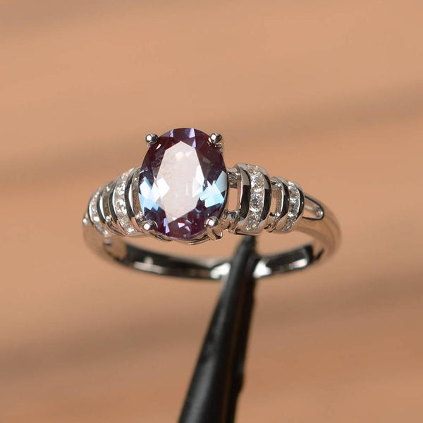 June Birthstone Rings - sterling silver oval cut color changing alexandrite June birthstone wedding ring