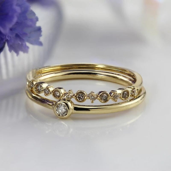 Stackable Diamond Rings - 10k gold 1/10cttw petite stackable accent diamond ultra-thin wedding band