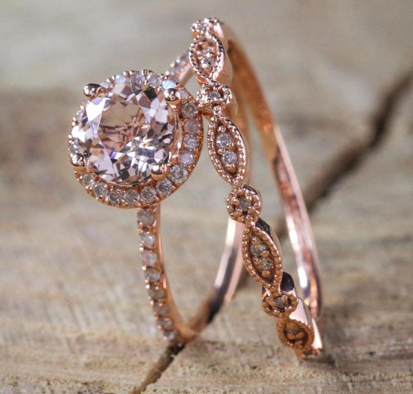 Rose Gold Rings For Women - Customized 18K Rose Gold Rhinestone Fashion Women's Engagement Ring