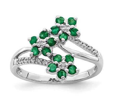 Solid sterling silver rhodium-plated 3 flower emerald and diamond ring