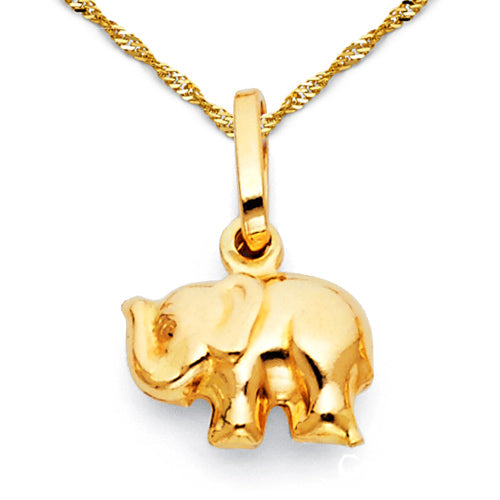 Gold Charm Necklace - mini junior elephant charm necklace with 14k yellow gold 16-22in Singapore chain