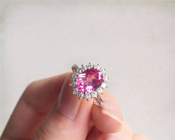 925 sterling silver royal style pink sapphire gemstone engagement wedding anniversary promise ring