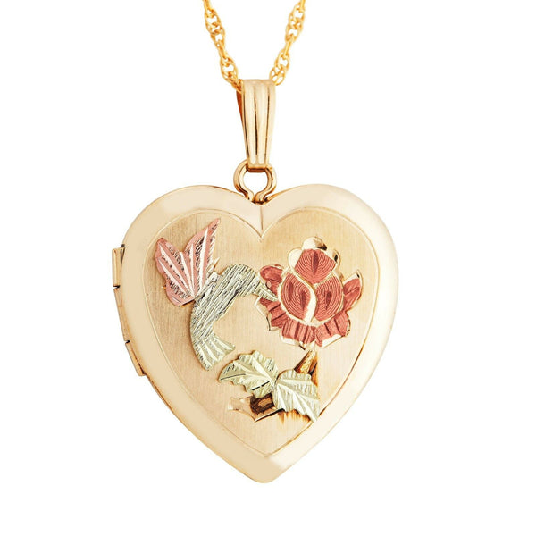 Gold locket heart hummingbird photo picture womens pendant necklace