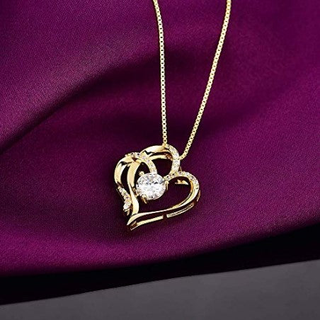14k gold plated 5A cubic zirconia heart pendant necklace for women