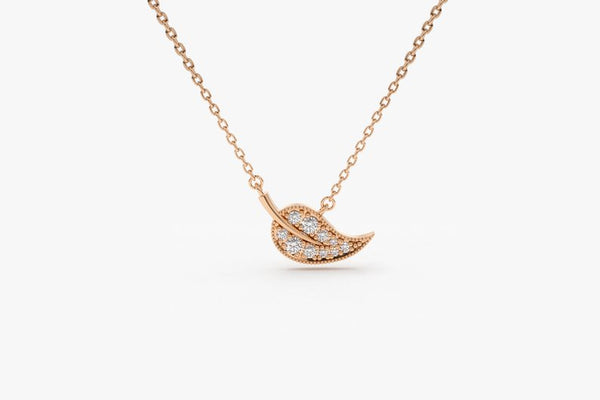 Diamond leaf charm necklace in 14k solid gold