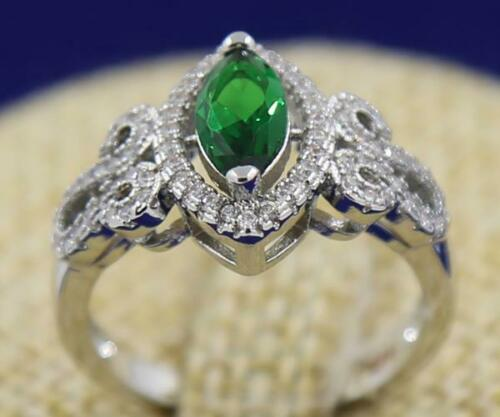 Attractive 14k solid white gold diamond 2.33ct natural emerald ring