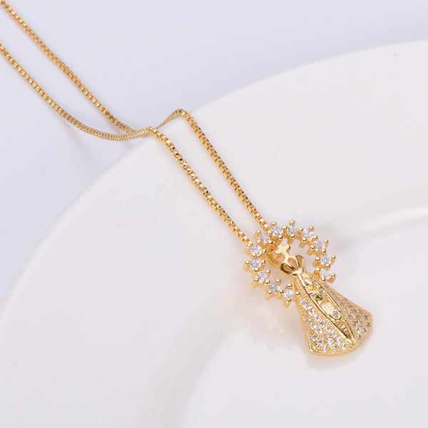 Latest fashion cross style pendant set with zircon 14k gold plated jewelry necklace