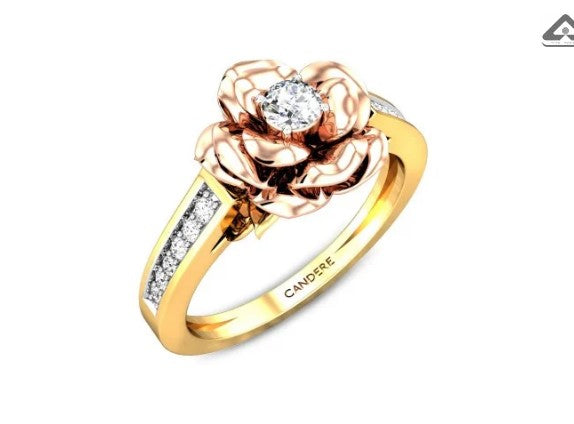 Bitter rose solitaire diamond ring
