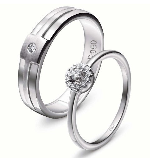 Platinum engagement couple rings with diamonds