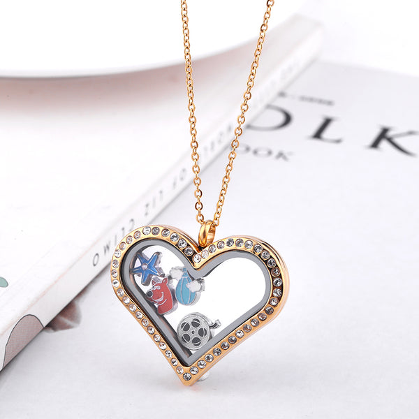 Floating locket gold heart pendant living memory necklace