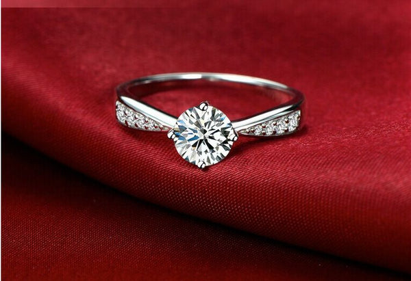 Micro-inlay 1 ct cubic zirconia 925 sterling silver engagement promise ring