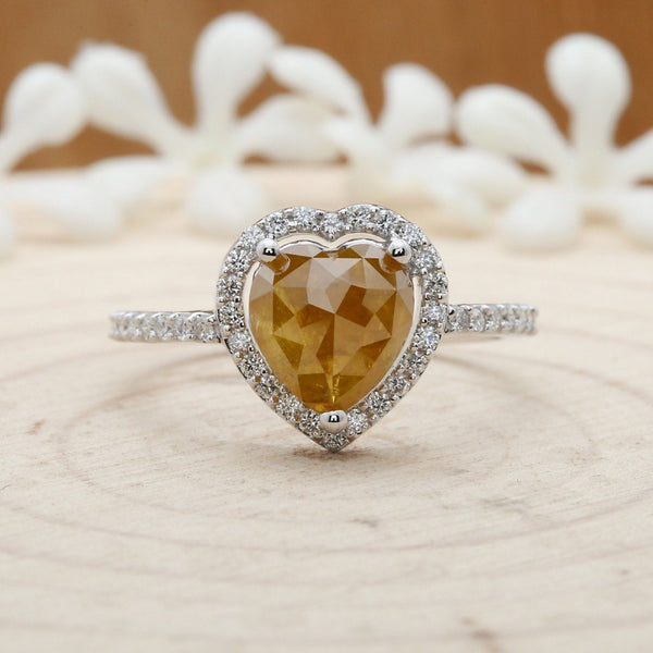 Heart Shaped Diamond Ring - yellow heart diamond 14k solid white gold engagement wedding gift ring