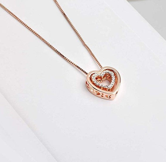 Rose gold plated love heart pendant necklace for women mom