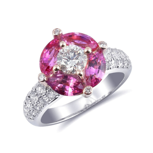Natural pink sapphire 1.80 carats set in 18k rose and white gold ring with 1.25 carats diamonds