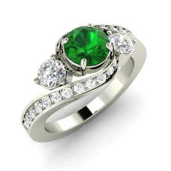 1.45 carat emerald sidestone ring in 14k white gold with si diamond