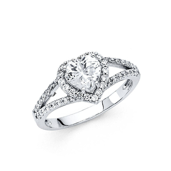 Heart Shaped Diamond Ring - 14k white gold 1.90 ct heart shaped diamond halo engagement wedding promise solid ring