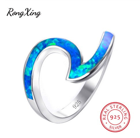 October Birthstone Rings - 100% real 925 sterling silver blue fire opal wave October birthstone ring for women
