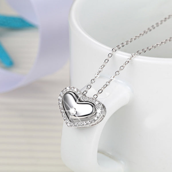 Rhodium plated heart locket s925 sterling silver chain necklace for girls