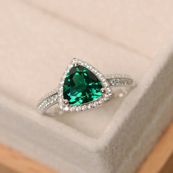 Womens 14k solid white gold 2.05ct natural diamond emerald cut topaz ring