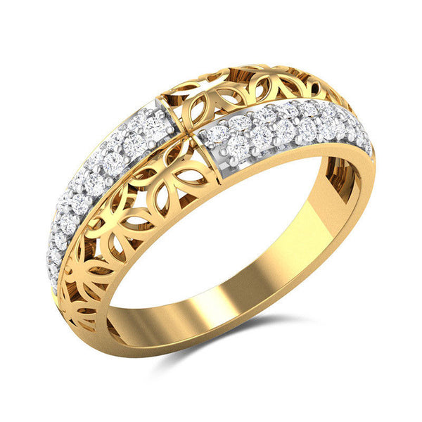Craved 18k yellow gold plated white sapphire ring