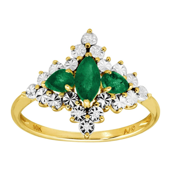 5/8 ct natural emerald ring with diamonds in 10k gold