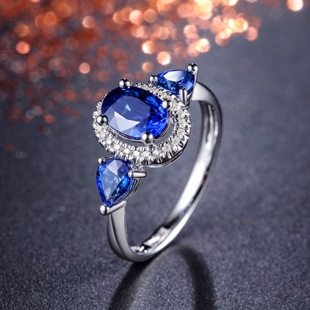 10k white gold huge 3 carat blue sapphire and diamond halo engagement ring