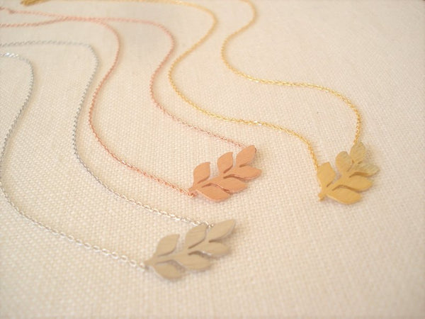 Gold Charm Necklace - celebrity inspired gold, silver or rose gold side ways leaf best friend charm necklace