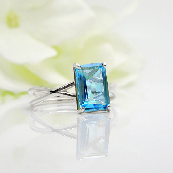 Minimalist blue topaz cocktail December birthstone mothers ring