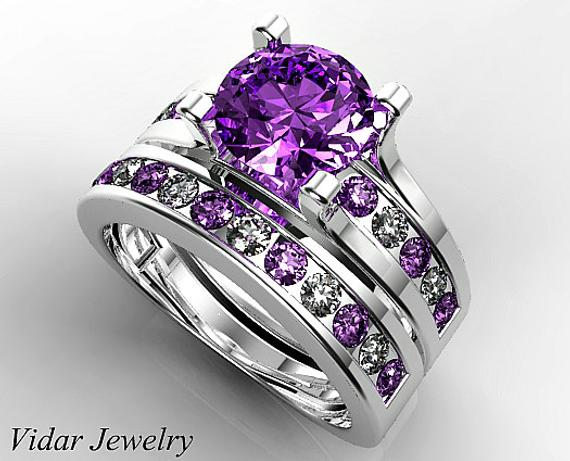 alluring amethyst halo engagement ring with a pave diamond setting - wedding ring sets, wedding ring sets for her, womens wedding ring sets