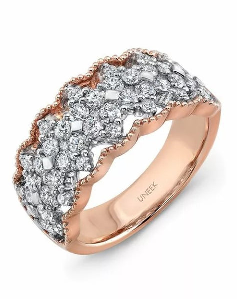 Wedding Rings For Women - Radiant Rose Gold Wedding Band RIng With Brilliant-Cut Diamonds White Gold Wedding Band