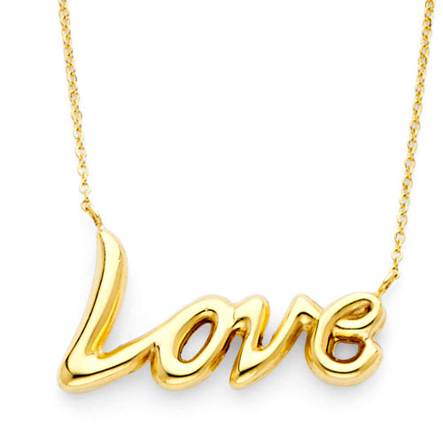 Gold Charm Necklace - floating love charm necklace in 14k yellow gold