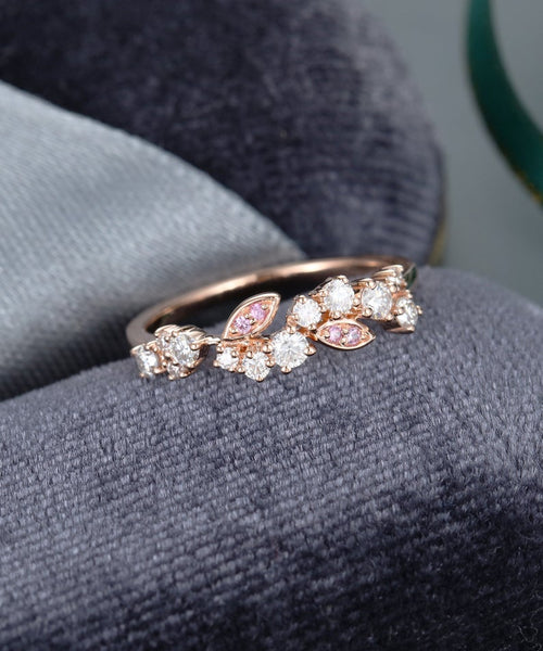 Moissanite wedding band women rose gold wedding band vintage unique pink sapphire floral stacking matching bridal set promise gift for her