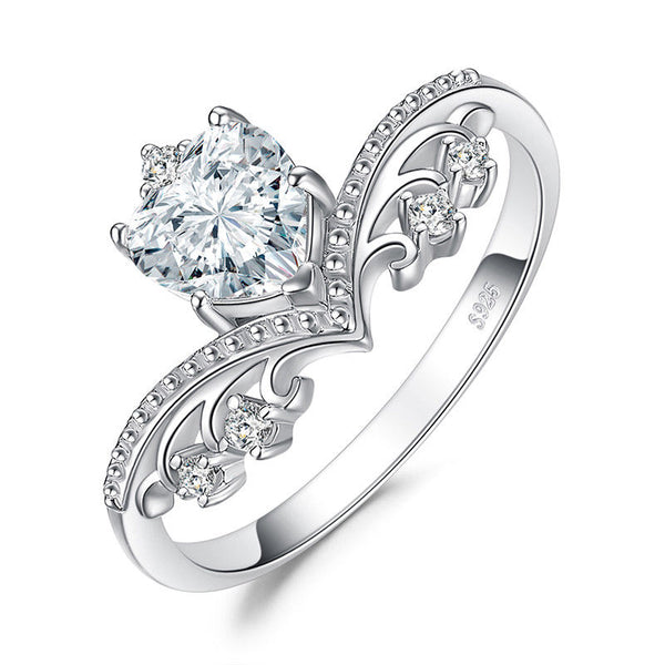 925 sterling silver heart 1.2ct cubic zirconia engagement ring