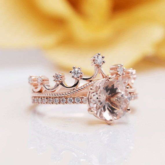 Rose Gold Rings For Women - Morganite Diamond Crown 14K Rose Gold 8MM Princess Engagement Ring