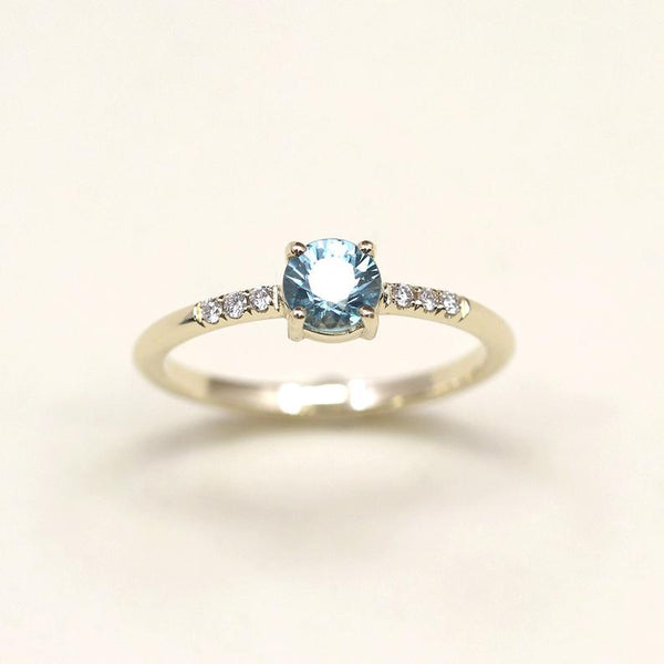 Women's blue zircon diamond December birthstone engagement wedding band ring
