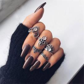 Antique silver midi finger rings for women