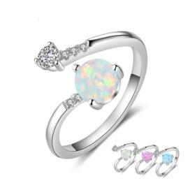 Blue opal, cubic zirconia in sterling silver wrap fashion ring