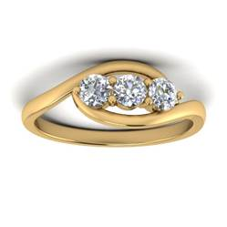 Diamond 3-stone setting ring in gold