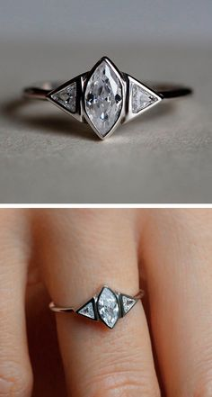 Geometric fashion ring, hexagon flanked by triangles