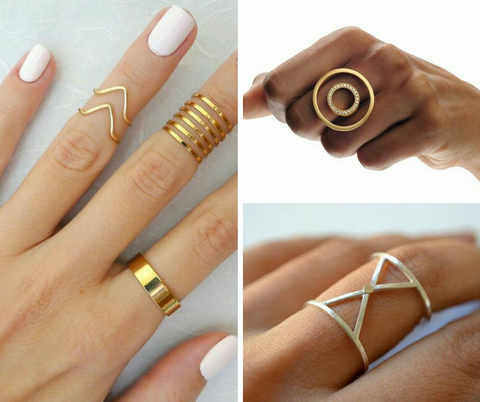 Geometric fashion rings for women in circular, triangle shape