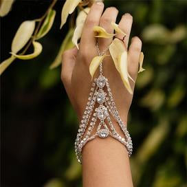 Hand chain bracelet fashion ring for women
