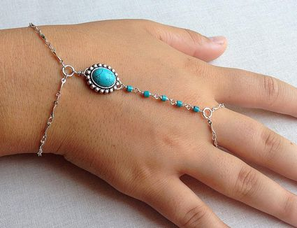 Hand chain ring fashion ring with turquoise stones