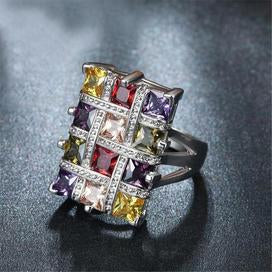 Multi-color crystal zirconia fashion statement ring