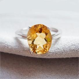 Natural citrine gemstone ring for women
