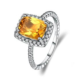 Natural citrine gemstone ring in sterling silver