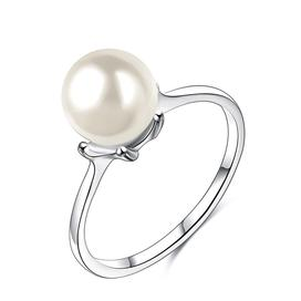 Simulated pearl fashion wedding ring for women in sterling silver
